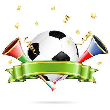 Soccer Poster with Soccer Ball, vuvuzela, ribbon and golden streamer, vector isolated on white background Stock Photo - Budget Royalty-Free & Subscription, Code: 400-07410250