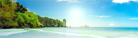 landscape of tropical island beach with perfect sky Stock Photo - Budget Royalty-Free & Subscription, Code: 400-07410506