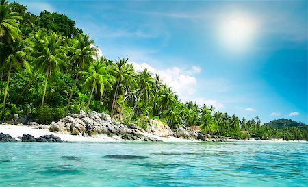 landscape of tropical island beach with perfect sky Stock Photo - Budget Royalty-Free & Subscription, Code: 400-07410516