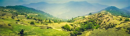 Panorama of Beautiful Mountain Valley with Sunlight Stock Photo - Budget Royalty-Free & Subscription, Code: 400-07410521