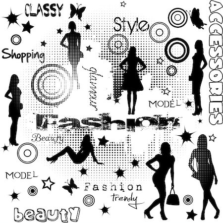 simsearch:400-04096935,k - Fashion advertisement with women silhouettes Stock Photo - Budget Royalty-Free & Subscription, Code: 400-07411321