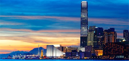 Skyline of Hong Kong at sunset. Stock Photo - Budget Royalty-Free & Subscription, Code: 400-07412992