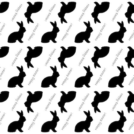 Design seamless Easter bunny rabbits monochrome pattern. Easter background. Vector art Stock Photo - Budget Royalty-Free & Subscription, Code: 400-07424187