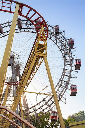dpruter - Wiener Riesenrad Ferris Wheel and Roller Coaster in the Prater amusement park in Vienna, Austria Stock Photo - Budget Royalty-Free & Subscription, Code: 400-07424912