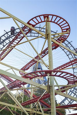 dpruter - Wiener Riesenrad Ferris Wheel and Roller Coaster in the Prater amusement park in Vienna, Austria Stock Photo - Budget Royalty-Free & Subscription, Code: 400-07424913