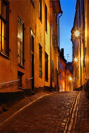 Stockholms old city at night Stock Photo - Budget Royalty-Free & Subscription, Code: 400-07425279