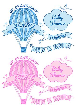 flying heart girl - hot air ballon, it's a girl or boy, baby shower, set of vector design elements Stock Photo - Budget Royalty-Free & Subscription, Code: 400-07425300