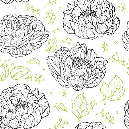 peony design vector - Vector illustration of Seamless floral pattern Stock Photo - Budget Royalty-Free & Subscription, Code: 400-07425328