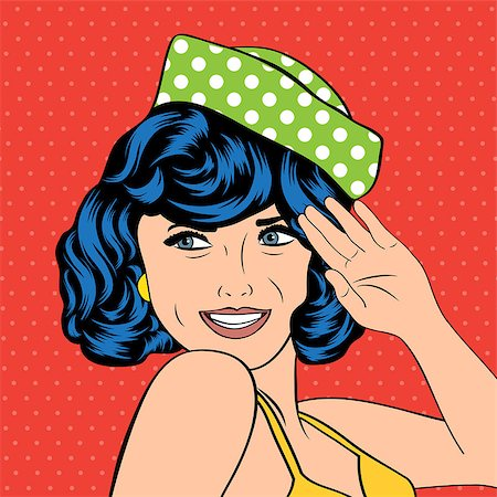 cute retro woman in comics style, vector illustration Stock Photo - Budget Royalty-Free & Subscription, Code: 400-07425797