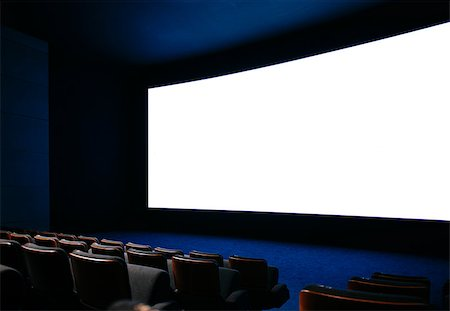 Cinema auditorium with large screen and empty seats Stock Photo - Budget Royalty-Free & Subscription, Code: 400-07426806