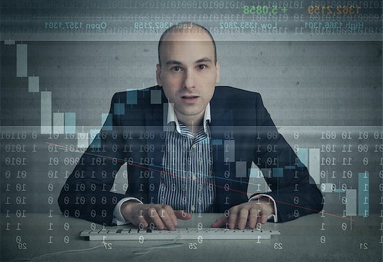 man working on computer Stock Photo - Royalty-Free, Artist: spaxiax, Image code: 400-07427305