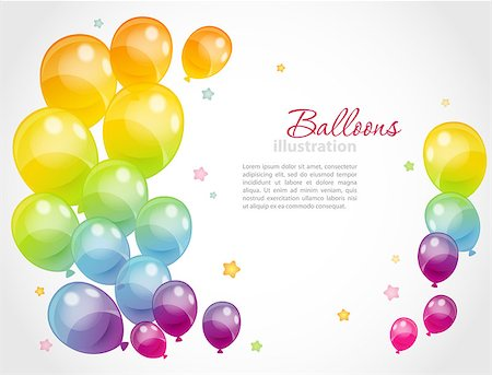 Vector illustration of Background with colorful balloons eps 10 Stock Photo - Budget Royalty-Free & Subscription, Code: 400-07427391