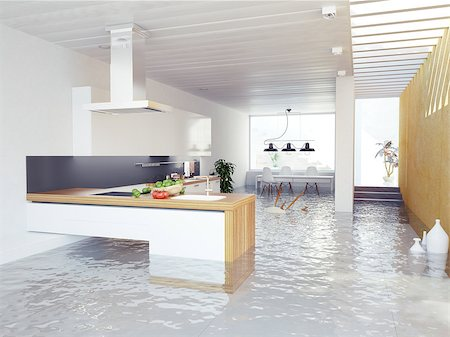 flooded homes - flooding kitchen modern interior (3D concept) Stock Photo - Budget Royalty-Free & Subscription, Code: 400-07427674