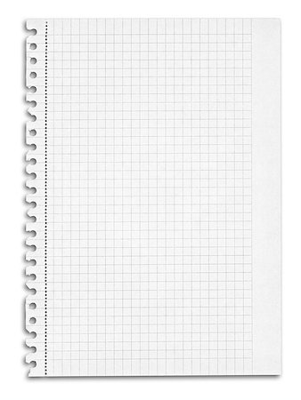 sheet of squared paper with shadow over white background Stock Photo - Budget Royalty-Free & Subscription, Code: 400-07427912