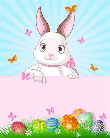 Cute cartoon bunny peeking round from behind a sign and pointing down Stock Photo - Budget Royalty-Free & Subscription, Code: 400-07428254