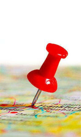 Push pin in a map, close up Stock Photo - Budget Royalty-Free & Subscription, Code: 400-07428459