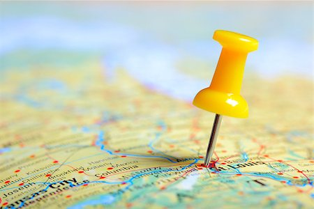 Push pin in a map, close up Stock Photo - Budget Royalty-Free & Subscription, Code: 400-07428465