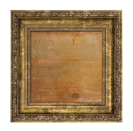 Ruined golden frame with wooden interior isolated on white Stock Photo - Budget Royalty-Free & Subscription, Code: 400-07428688