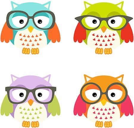 Scalable vectorial image representing a lovely owls with glasses, isolated on white. Stock Photo - Budget Royalty-Free & Subscription, Code: 400-07429064