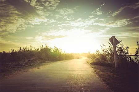 road landscape - Road and sky in sunset countryside view nature Stock Photo - Budget Royalty-Free & Subscription, Code: 400-07420044
