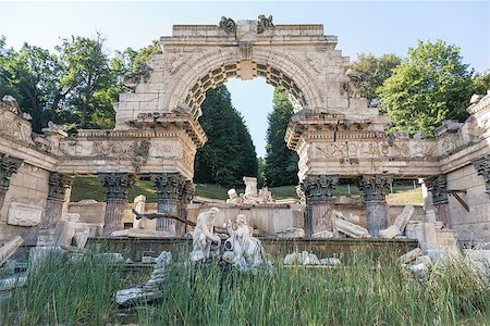 Originally called the Ruin of Carthage, the Roman Ruin stands at the foot of the wooded slopes of Schönbrunn Hill, Schonbrunn Palace, Vienna, Austria Stock Photo - Budget Royalty-Free & Subscription, Code: 400-07420496
