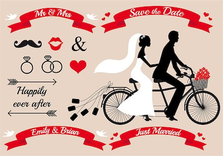 female lips drawing - wedding set, bride and groom on tandem bicycle, graphic design elements Stock Photo - Budget Royalty-Free & Subscription, Code: 400-07420886