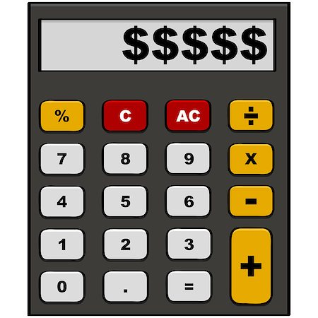 education loan - Cartoon illustration showing a calculator with dollar signs in the display area Stock Photo - Budget Royalty-Free & Subscription, Code: 400-07420899