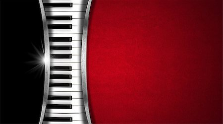 Piano keyboard on black and red velvet background and metal stripes - business card music Stock Photo - Budget Royalty-Free & Subscription, Code: 400-07421138