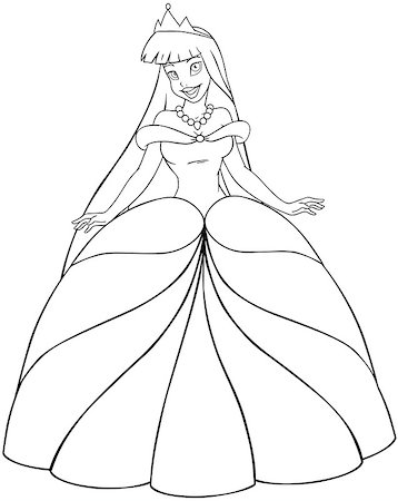 Vector illustration coloring page of a beautiful asian princess. Stock Photo - Budget Royalty-Free & Subscription, Code: 400-07421460