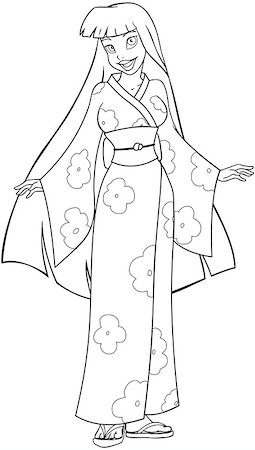 Vector illustration coloring page of an asian woman in traditional japanese kimono. Stock Photo - Budget Royalty-Free & Subscription, Code: 400-07421470