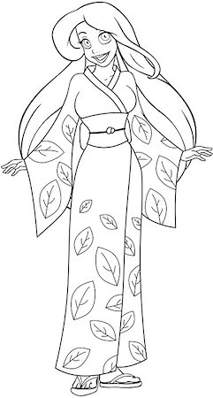 Vector illustration coloring page of a caucasian woman in traditional japanese kimono. Stock Photo - Budget Royalty-Free & Subscription, Code: 400-07421487