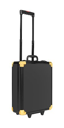 Black suitcase isolated on white background Stock Photo - Budget Royalty-Free & Subscription, Code: 400-07423035