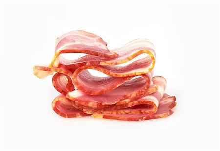 Fresh Sliced Pork Bacon isolated on white background Stock Photo - Budget Royalty-Free & Subscription, Code: 400-07423039