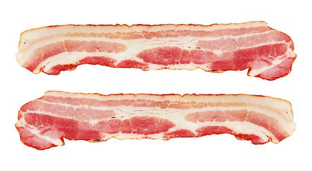 Fresh Sliced Pork Bacon isolated on white background Stock Photo - Budget Royalty-Free & Subscription, Code: 400-07423044