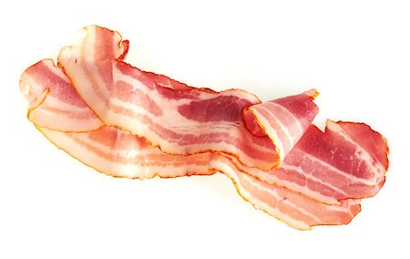 Fresh Sliced Pork Bacon isolated on white background Stock Photo - Budget Royalty-Free & Subscription, Code: 400-07423041
