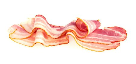 Fresh Sliced Pork Bacon isolated on white background Stock Photo - Budget Royalty-Free & Subscription, Code: 400-07423042