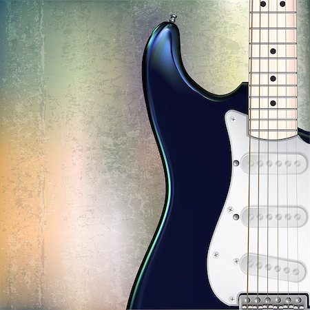 sheet music background - abstract grunge jazz rock background with blue electric guitar Stock Photo - Budget Royalty-Free & Subscription, Code: 400-07423271