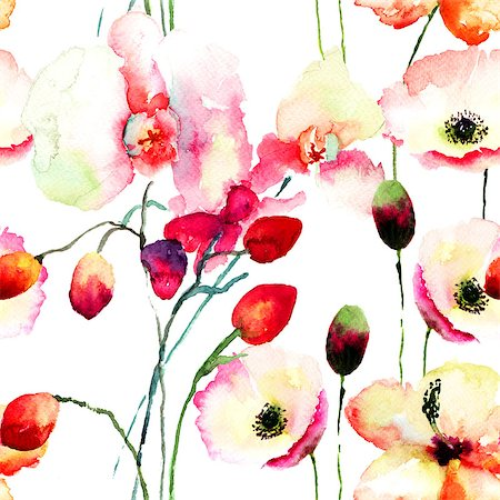 seamless floral - Seamless pattern with Pink orchids and Poppy flowers, watercolor illustration Stock Photo - Budget Royalty-Free & Subscription, Code: 400-07444674