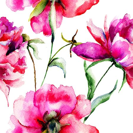 peony art - Seamless wallpaper with Peony flowers, watercolor painting Stock Photo - Budget Royalty-Free & Subscription, Code: 400-07444695