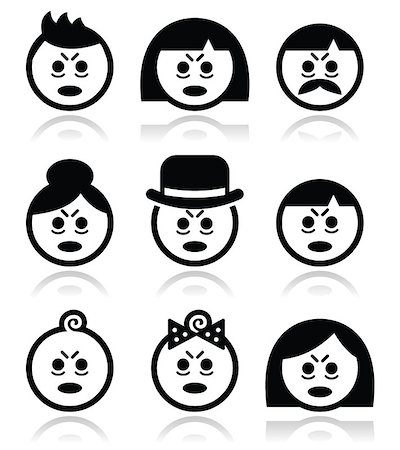 sleepy old woman - Vector icons set of people looking sleepy or stressed isolated on white Stock Photo - Budget Royalty-Free & Subscription, Code: 400-07446382