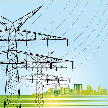 High voltage power pylons Stock Photo - Budget Royalty-Free & Subscription, Code: 400-07449096