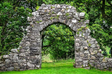 Old stone entrance wall in green landscaped garden Stock Photo - Budget Royalty-Free & Subscription, Code: 400-07449848