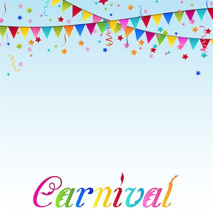 Illustration carnival background with flags, confetti, text  - vector Stock Photo - Budget Royalty-Free & Subscription, Code: 400-07464131
