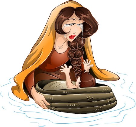 Vector illustration of Jochebed placing Moses in the nile. Stock Photo - Budget Royalty-Free & Subscription, Code: 400-07464291
