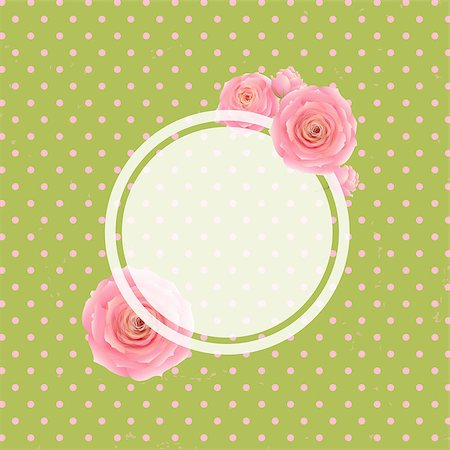 Pink Rose Label And Green Background, With Gradient Mesh, Vector Illustration Stock Photo - Budget Royalty-Free & Subscription, Code: 400-07464638