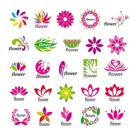 rose vector - Collection of vector multicolored floral logos Stock Photo - Budget Royalty-Free & Subscription, Code: 400-07465789