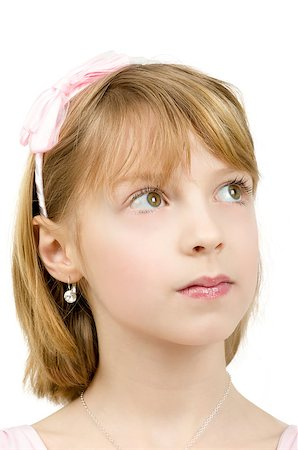 Studio portrait of young beautiful girl with nice eyes on white background Stock Photo - Budget Royalty-Free & Subscription, Code: 400-07466108