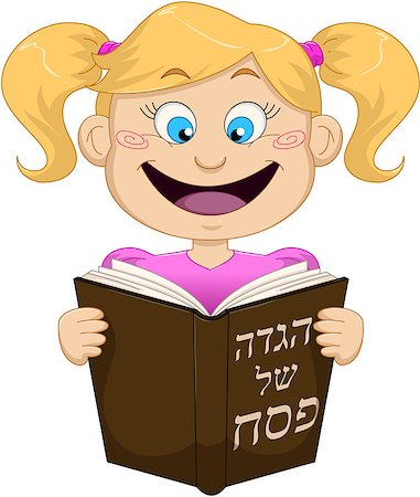 Vector illustration of a girl reading from Haggadah on Passover. Stock Photo - Budget Royalty-Free & Subscription, Code: 400-07466114