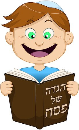 Vector illustration of a boy reading from Haggadah on Passover. Stock Photo - Budget Royalty-Free & Subscription, Code: 400-07466113