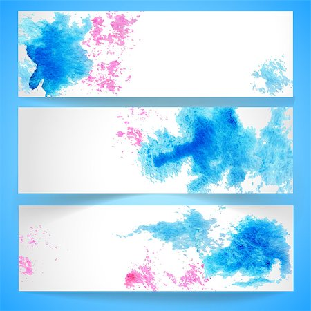 drop painting splash - Set of horizontal banners.The illustration contains transparency and effects. EPS10 Stock Photo - Budget Royalty-Free & Subscription, Code: 400-07466198